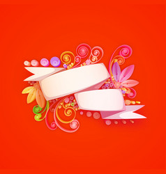 Quilling composition of white ribbon vector