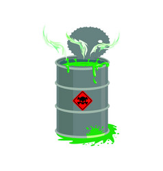 Radioactive waste barrel toxic refuse keg vector