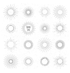 Retro hand drawn sunburst set Sun ray frames in vector
