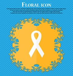 Ribbon breast cancer awareness month icon Floral vector