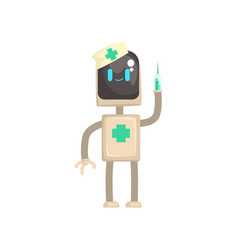 Robot doctor character android with syringe in vector