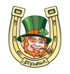 saint patrick cartoon emblem vector image