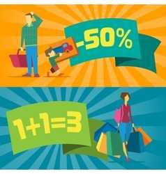 Sale banners with shopping people vector image