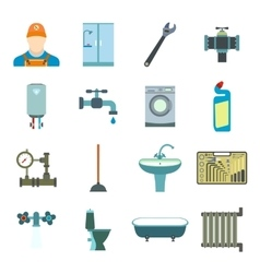 Sanitary engineering flat icons vector