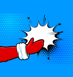 santa clous hand in glove pop art in retro style vector image