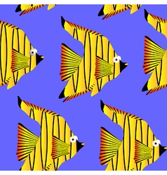 Seamless pattern tropical fish vector image