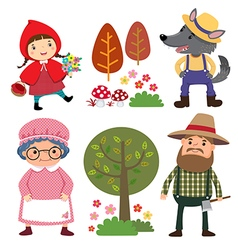 Set characters from little red riding hood vector