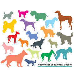 Set colorful dogs silhouettes-6 vector
