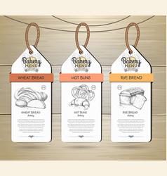 Set of restaurant labels bakery menu design vector