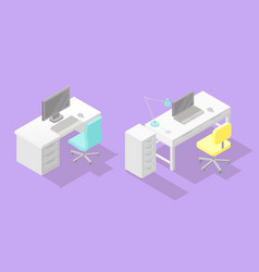 set of two low poly isometric work places vector image