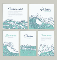 set waves sea ocean card wedding summer vector image