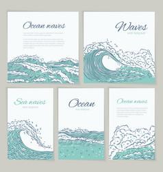 Set waves sea ocean card wedding summer vector