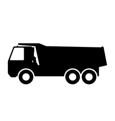 Silhouette of a dump truck on white background vector