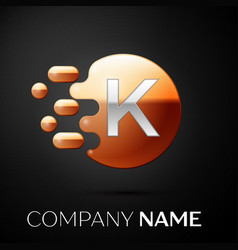 silver letter k logo gold dots splash and bubble vector image