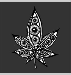 single cannabis leaf hand drawn sketch artwork vector image