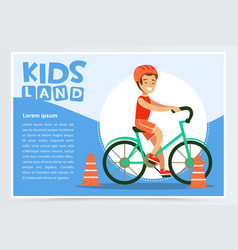 Smiling active boy riding bicycle kids land vector