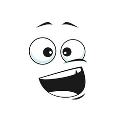 Smiling emoji with wide open mouth isolated icon vector