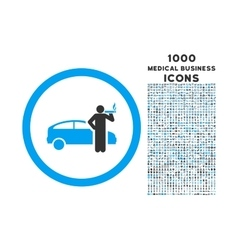 Smoking Taxi Driver Rounded Icon with 1000 Bonus vector