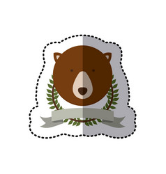 sticker crown leaves and label with bear animal vector image