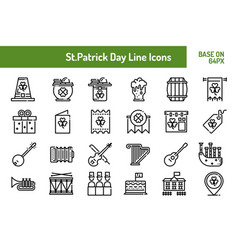 Stpatricks day icon set outline icon base on 64 vector