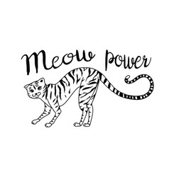 striped kitty cat meow power cute pet hand vector image