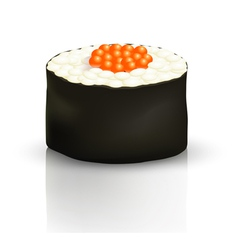 Sushi roll on the surface with reflection vector image
