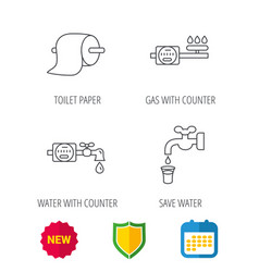 toilet paper gas and water counter icons vector image