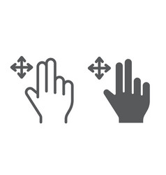 two fingers free drag line and glyph icon gesture vector image