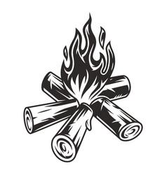 Vintage campfire or bonfire concept vector