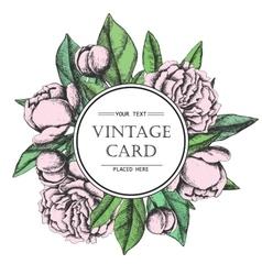 Vintage elegant card with peony flowers vector