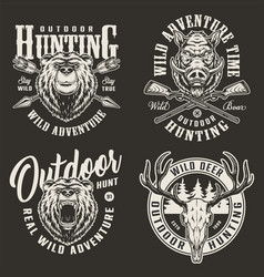 Vintage hunting labels vector