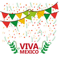 viva mexico poster confetti garland leaves party vector image