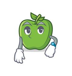 waiting green apple character cartoon vector image