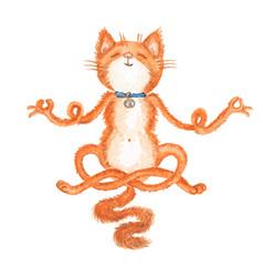 Watercolor cat vector