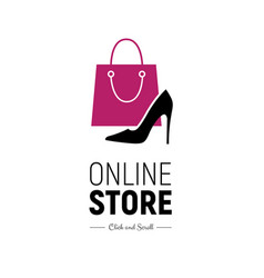 Web banner online store with handbag and footwear vector