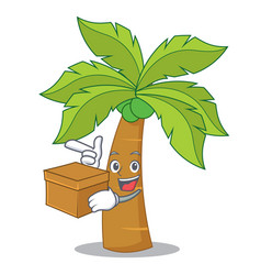 with box palm tree character cartoon vector image
