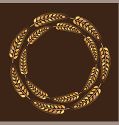 Wreath golden spikelet deco thanksgiving vector