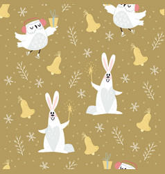 cute pattern with owl and rabbit vector image vector image