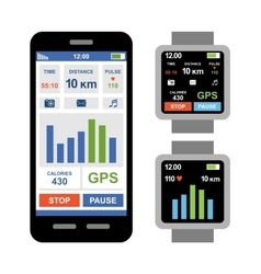 Fitness tracker app for smartwatch and smartphone vector image