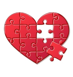 Heart puzzle isolated on white background vector image vector image
