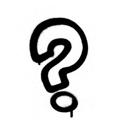 qgraffiti sprayed question mark in black on white vector image