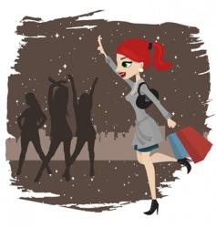 shopping woman running vector image