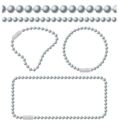 Silver Chain of Ball Links Set vector image