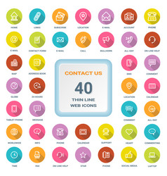 Contact us - set of round flat thin line web icons vector