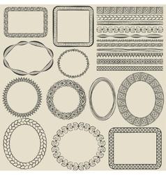 hand-drawn seamless borders vector image