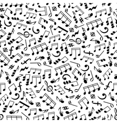 Music background with notes seamless pattern vector image