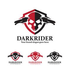 Skull motorcycle badge with shield and handlebars vector
