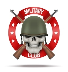Symbol of Military green helmet and skull vector image