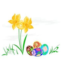 Easter egg with daffodils with grass vector image vector image