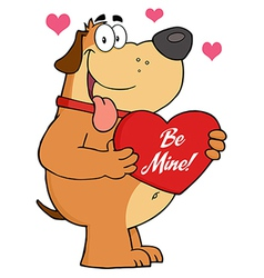 Fat Dog Holding Up A Red Heart With Text vector image vector image